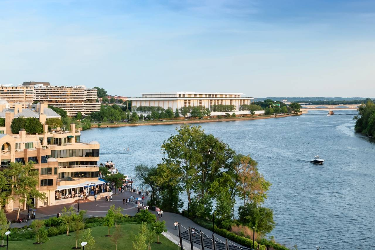 The apartment is on the fifth and sixth floors of the building and has views of the Potomac River and