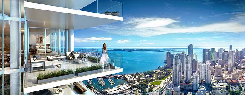 A balcony view at the PARAMOUNT Miami World Center.