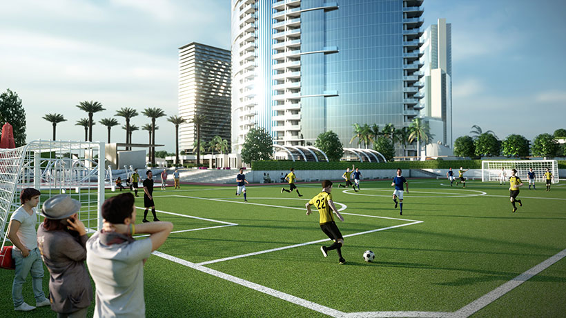 The upper deck soccer field at PARAMOUNT World Center.