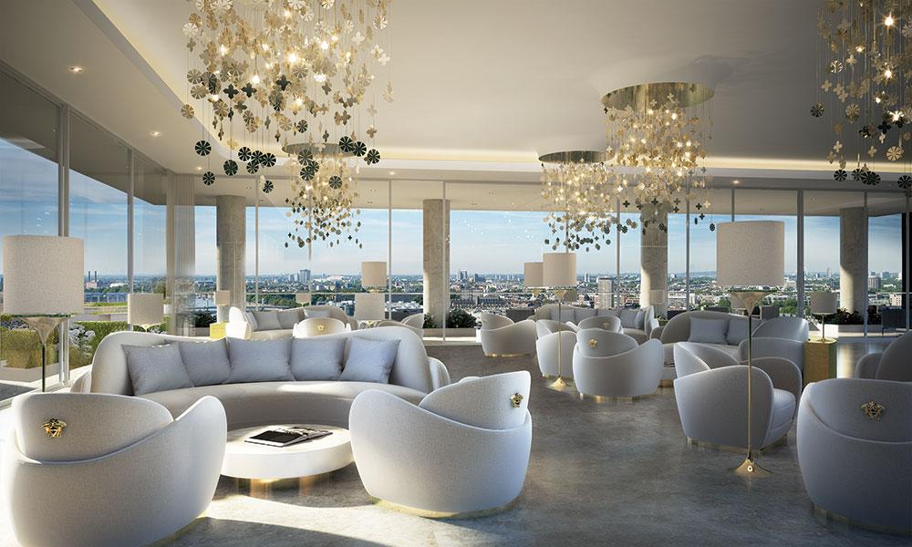 El salón diseñado por Versace en Nine Elms.