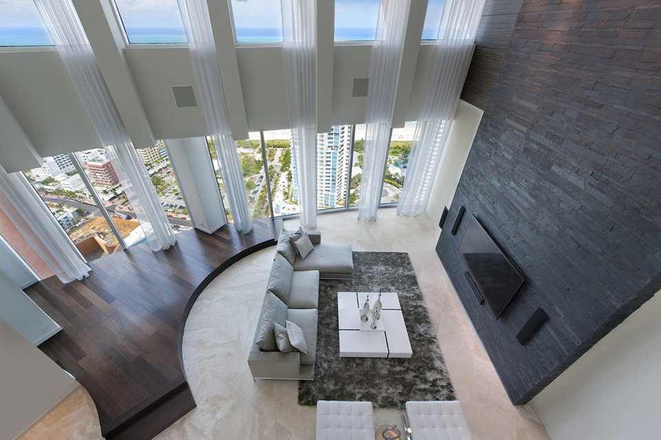 A nearly 6,000-square-foot penthouse with views of the Atlantic Ocean in the South of Fifth neighborh
