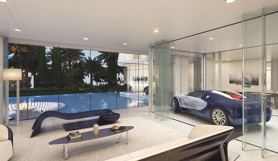 Una ilustración de una casa de playa estilo ETTORE 971 Bugatti, con un Bugatti Veyron.