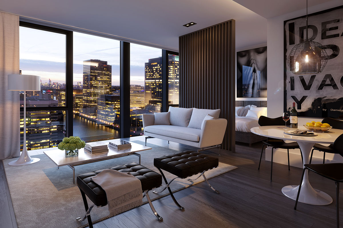 A rendering of a studio apartment at the Madison.