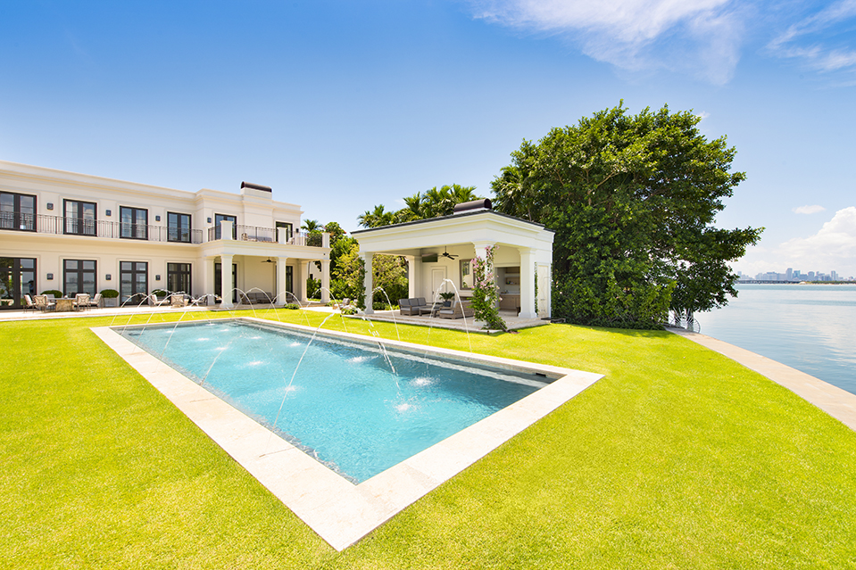 A 14,000-square-foot mansion in Miami Beach with more than 130-feet of waterfront on Biscayne Bay.