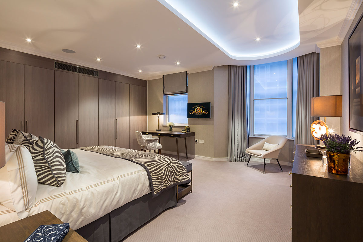 The master bedroom of a show apartment.