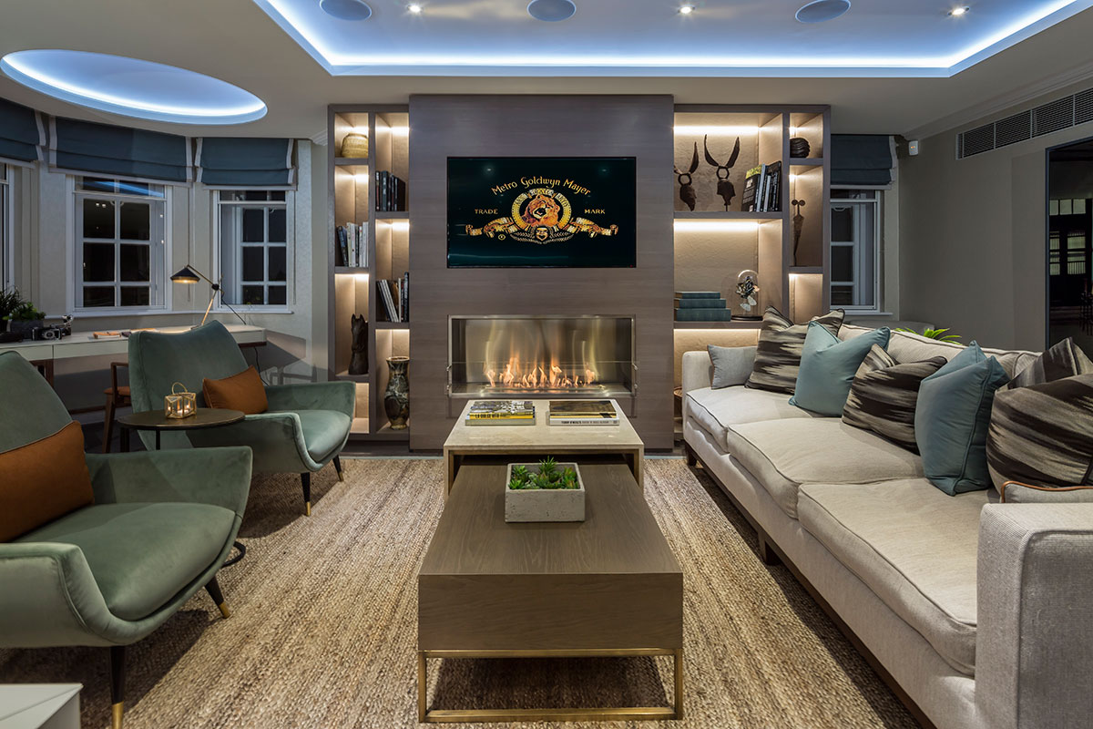 The living room area of a show apartment at the Fitzbourne.