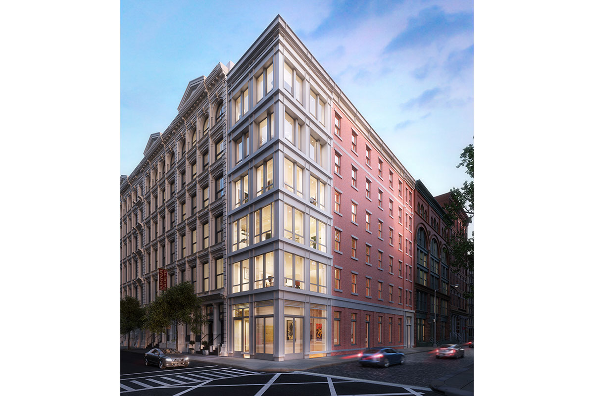 A rendering of the exterior of 52 Wooster Street in SoHo. The building will have cast iron and brick