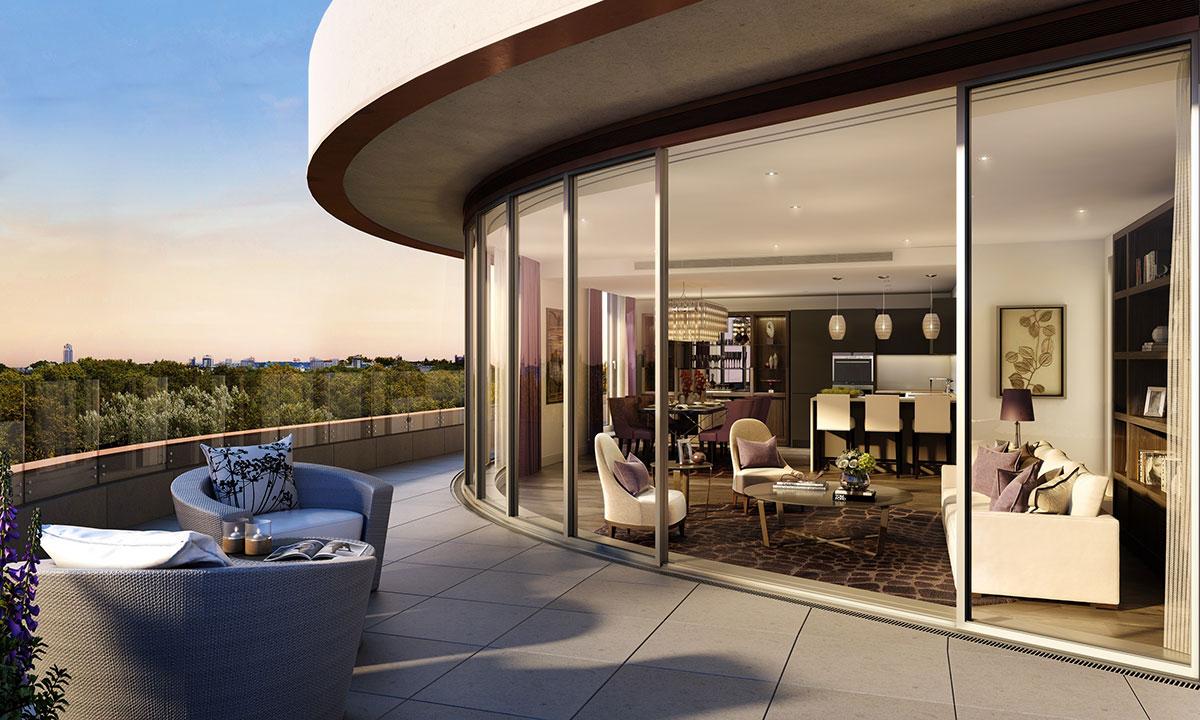 全部公寓均附带玻璃阳台或特色露台。