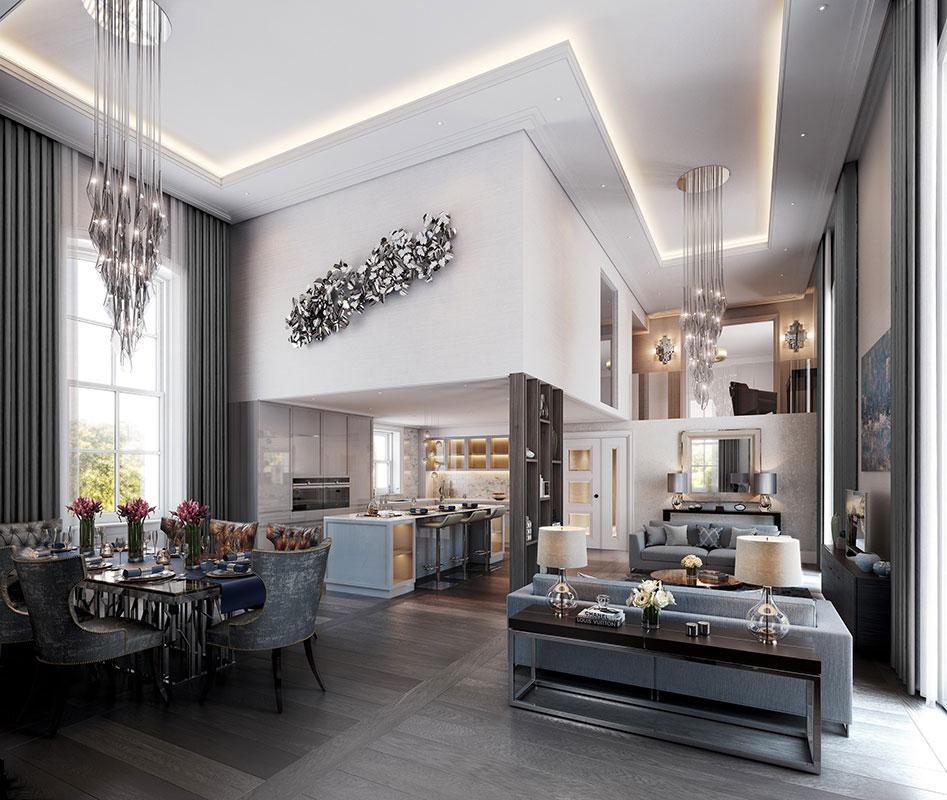 公寓设计完美融合了伦敦历史建筑的特征和现代住宅的优势。