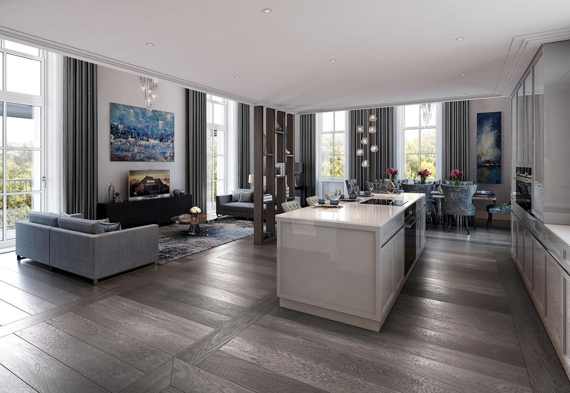 图为Wellington Row项目的厨房客厅一体化设计。