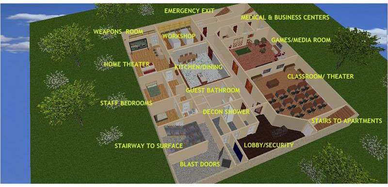 A layout of the bunker's first floor.