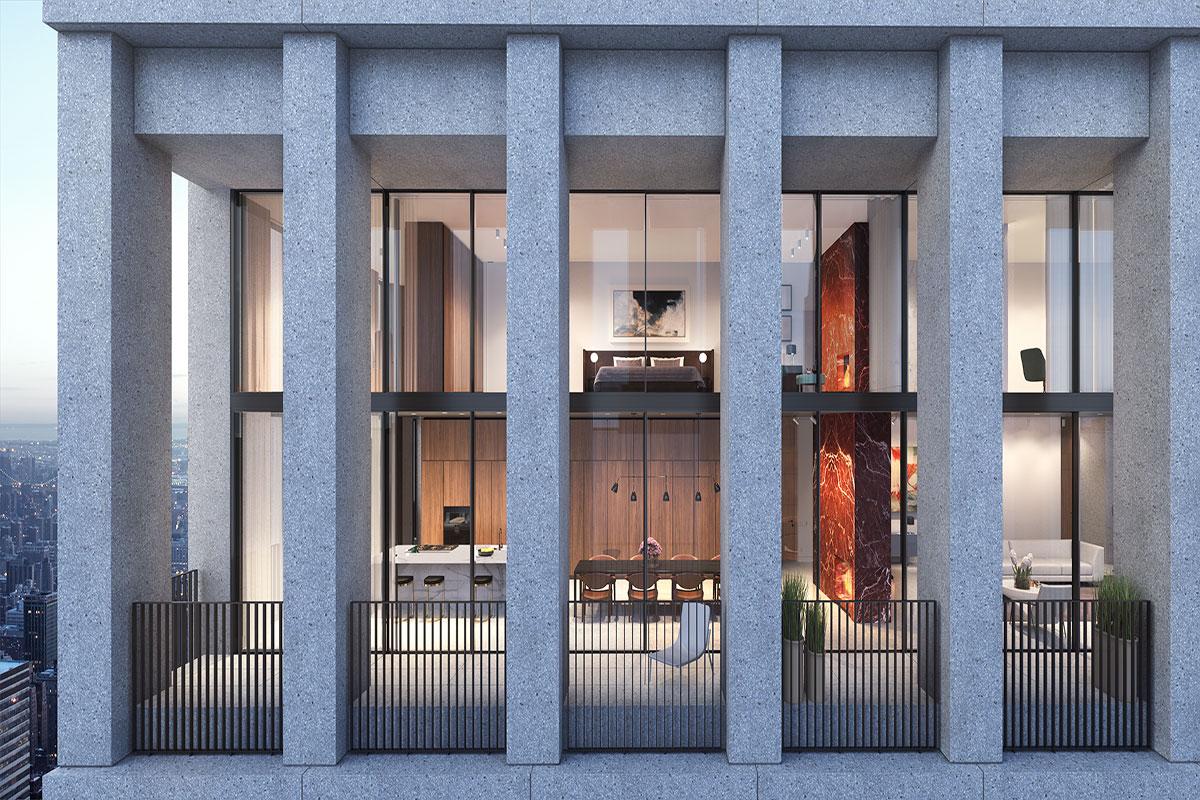 顶层公寓效果图。顶层公寓设计以11呎挑高天花板和红碧石壁炉为亮点。