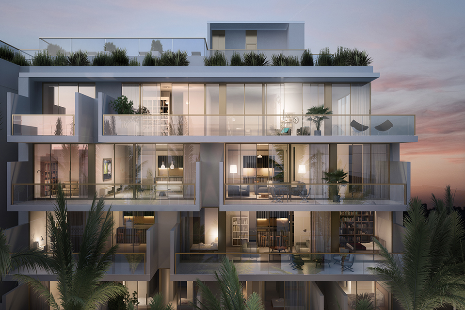 A rendering of the exterior of Three Hundred Collins. The new condominium at 8995 Collins Avenue will