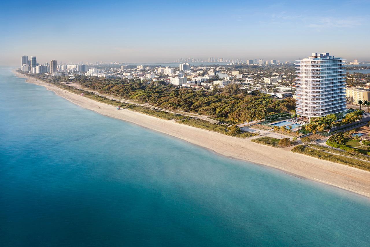 Una representación del exterior de Eighty Seven Park en el vecindario de North Beach en Miami Beach.