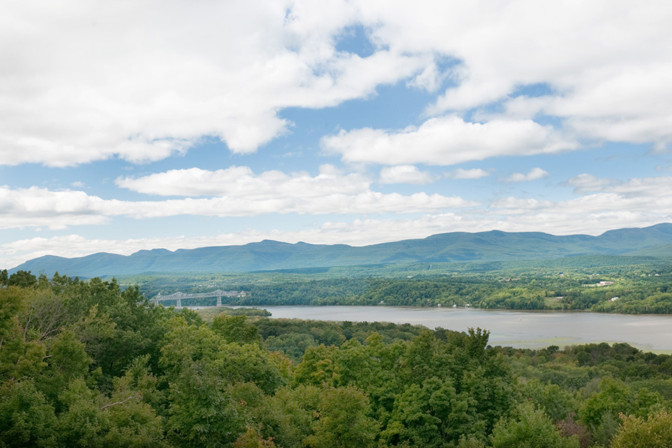 The home has views of the Hudson River and the Catskill Mountains.