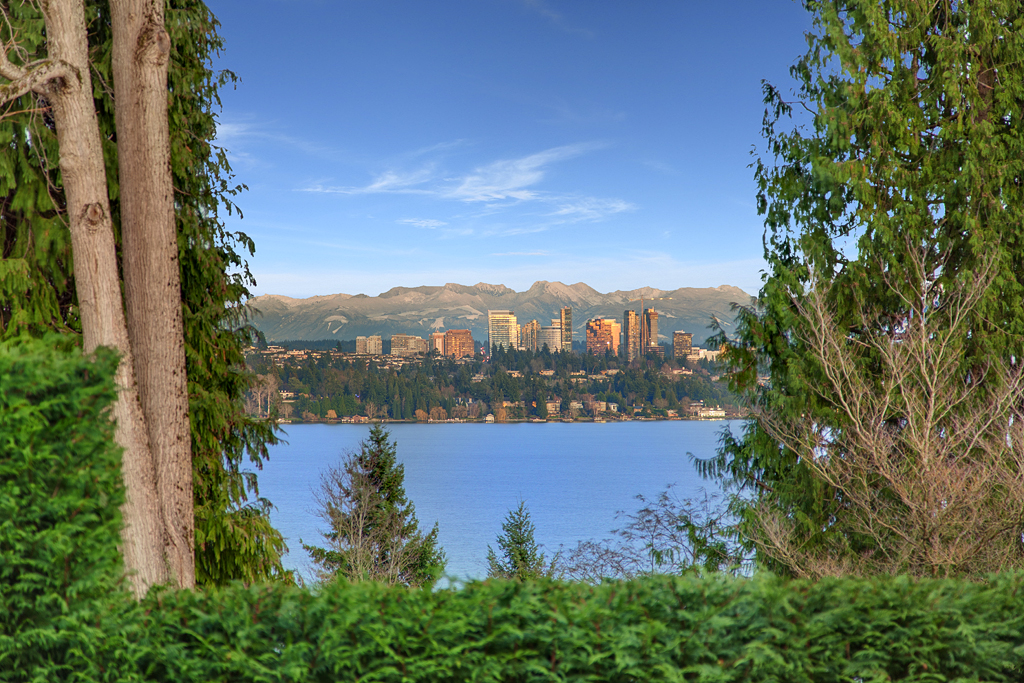 The house has views of Lake Washington, the Bellevue skyline and the Cascade mountains.