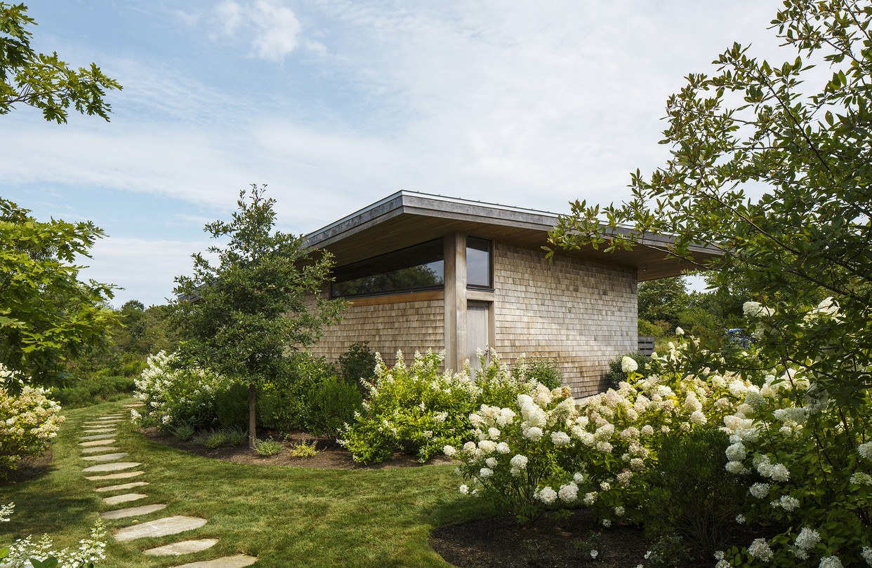 Designed by Maryann Thompson Architects, the compound is made up of three structures. All three have