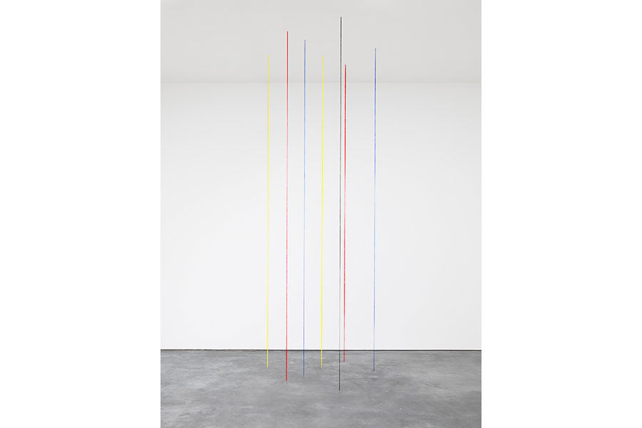 Untitled (Seven-part Vertical Construction), 1987; Yellow, red, blue, and black acrylic yarn; Ceiling