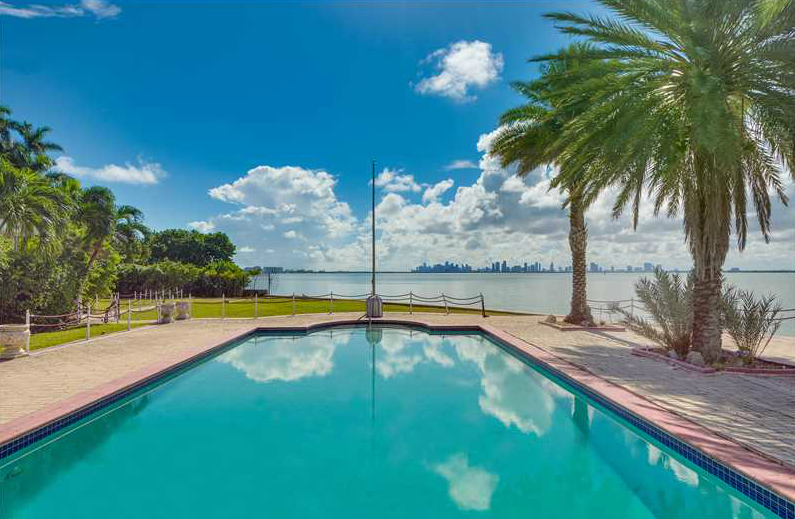 The property's in-ground pool has unobstructed views of Miami's downtown skyline.