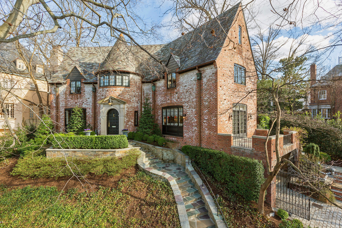 A six-bedroom French provincial residence with a Kalorama Road address is listed for sale at $5.55 mi