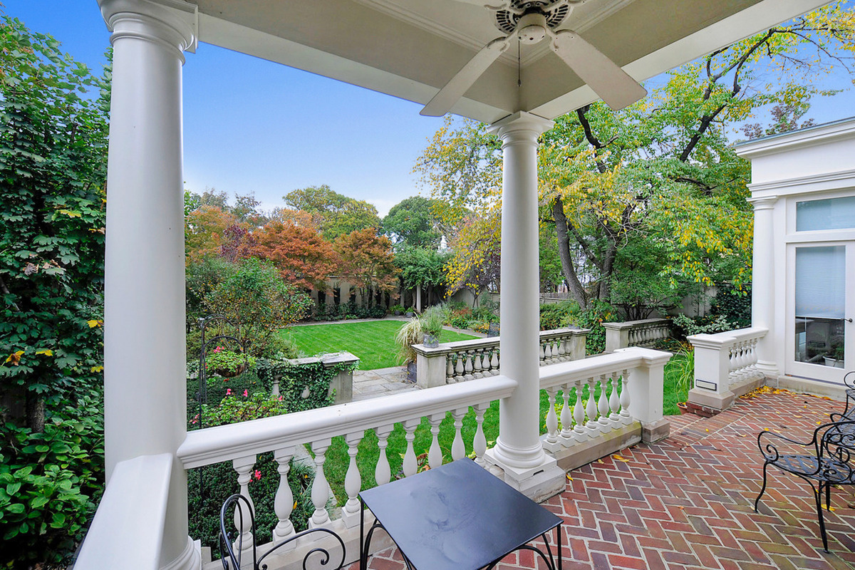 A view from the terrace of a six-bedroom, six-bathroom Federal Revival style home sits on Kalorama Ci