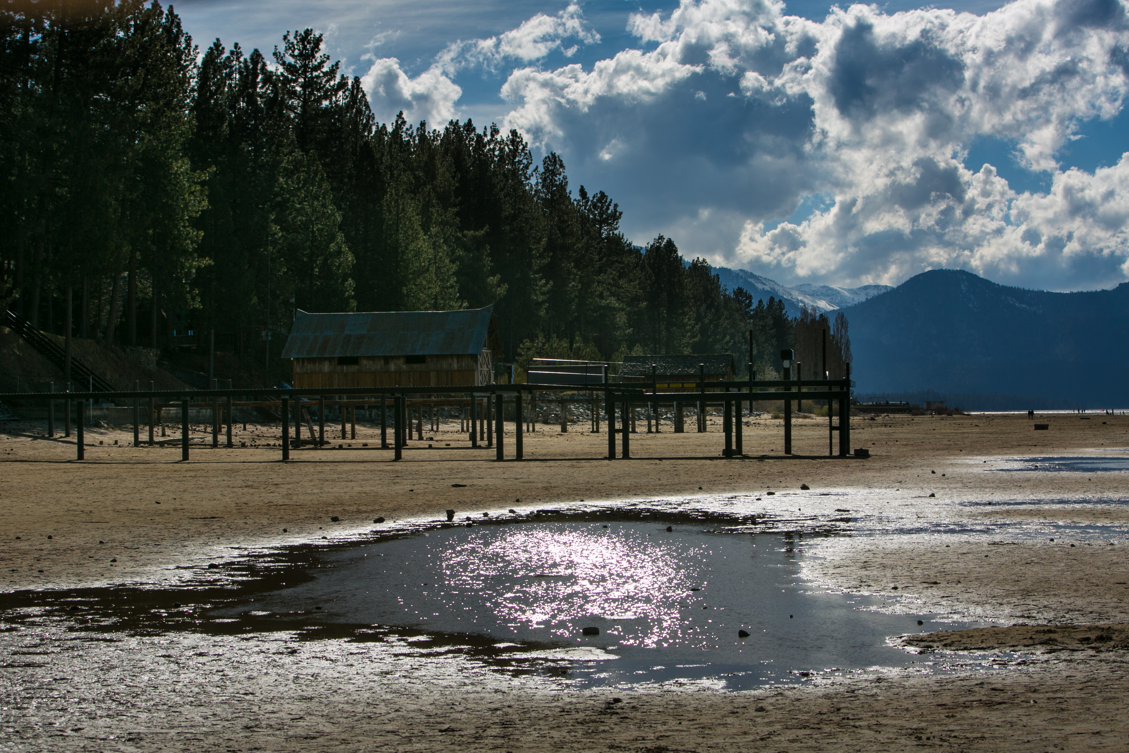 Without a series of Pacific storms reaching this high-elevation lake, water levels reached record low