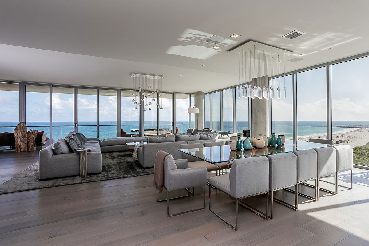 This Miami Beach oceanfront penthouse is listed for sale at $39.5 million.