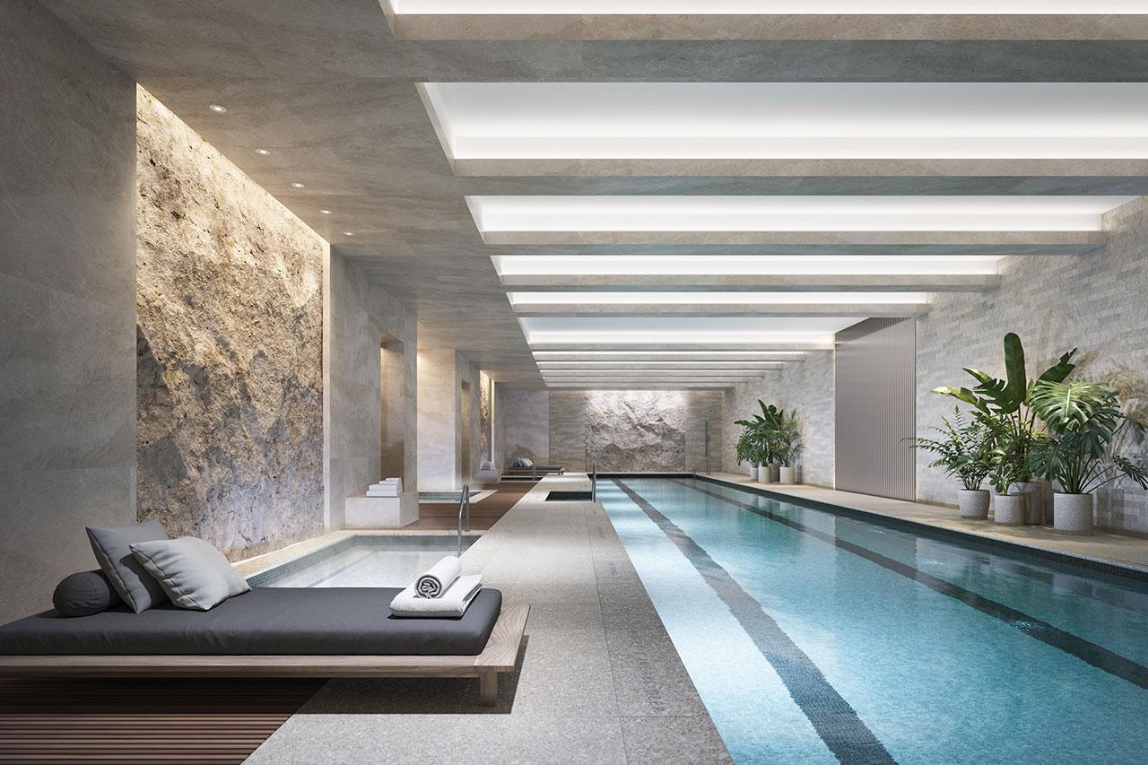 Una  representación de la piscina en 70 Vestry.