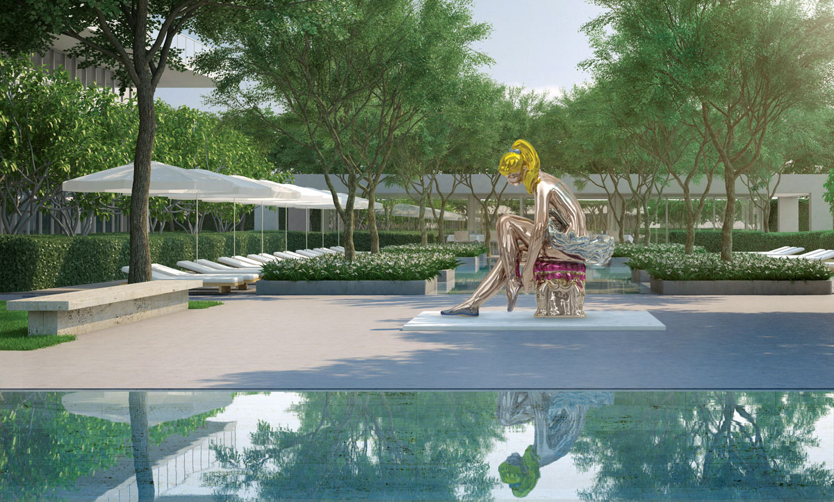 Oceana Bal Harbour's restaurant's outdoor terrace will have a view of Jeff Koons' Seated Ballerina sc