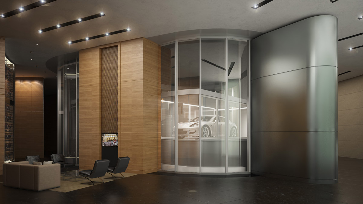 A rendering of the Porsche Design Tower's car elevator, which will transport your automobile into you