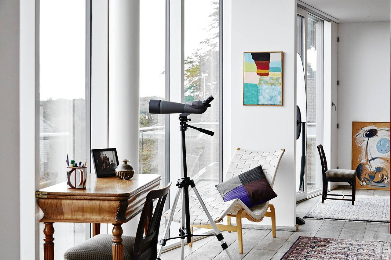 The home's upstairs sitting room has a view of the Bay of Aarhus.