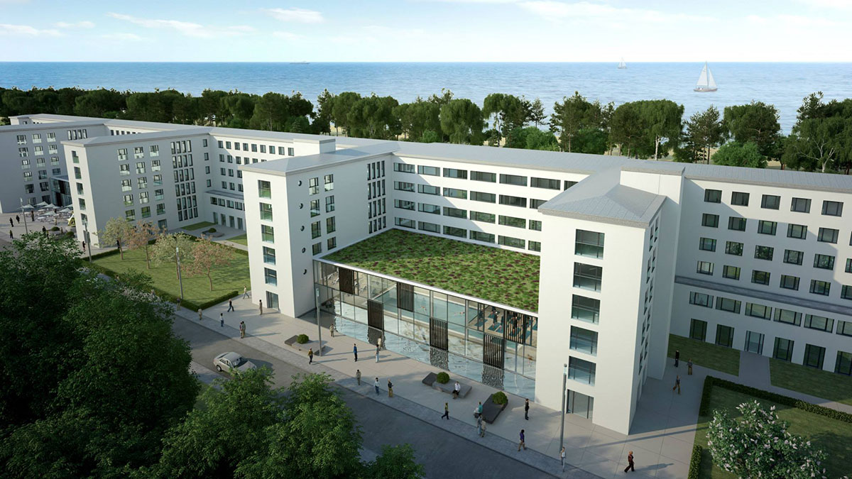 Rendering: The exterior of the New Prora complex
