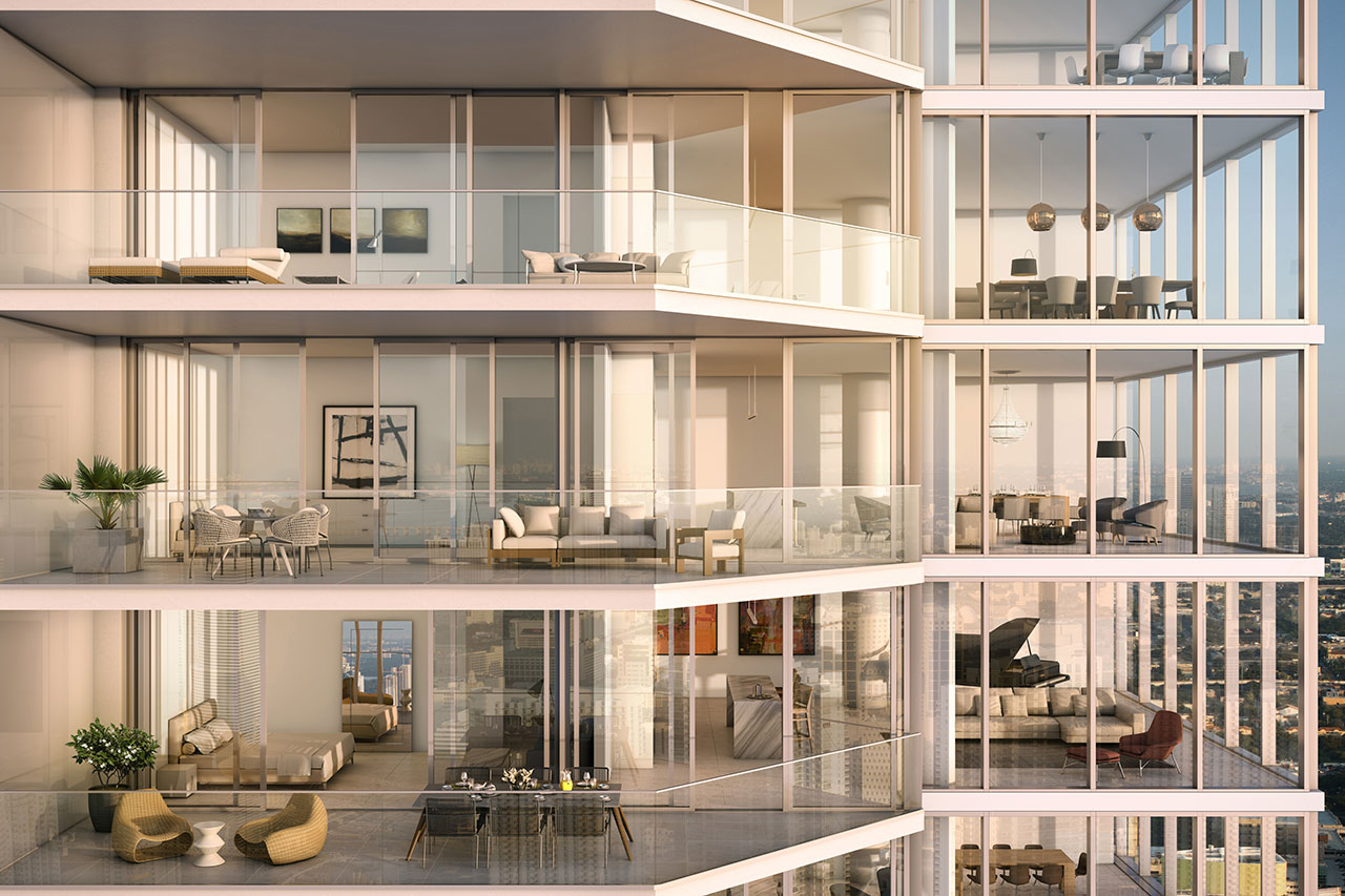 A rendering of a condo at One River Point.