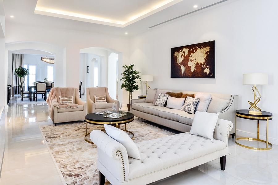 A six bedroom, eight bathroom villa available in Motor City, Dubai for around $4.4 million