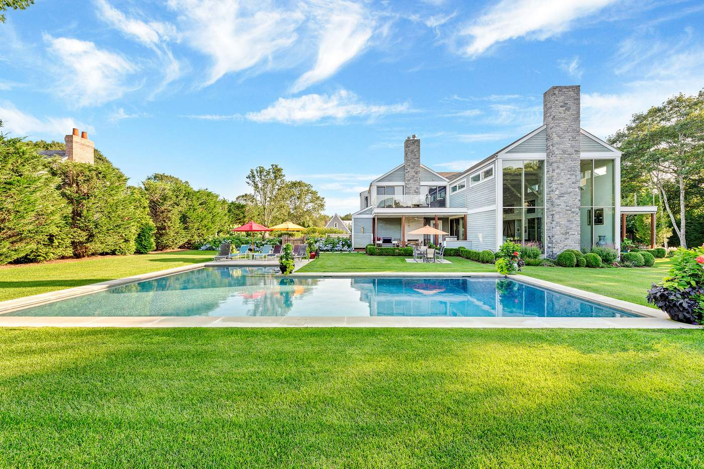 East Hampton, address available upon request$6.495 millionThis sprawling 6,500-square-foot home will capture the imagination of any chef with the custom kitchen kitted out with Calacatta stone, a Bertazzoni range and a Liebherr refrigerator. There is also a lower-level wine cellar and tasting room and outdoor summer kitchen. Inside, there are six bedrooms, a massive great room, den, gym, and theater room. Step outdoors to enjoy the covered porch and heated salt water pool set on a wide manicured lawn. Pick up locally grown produce, artisanal cheeses, just-baked pies and muffins, preserved vegetables and fresh fish at The Round Swamp Family Farm, open spring through early fall.