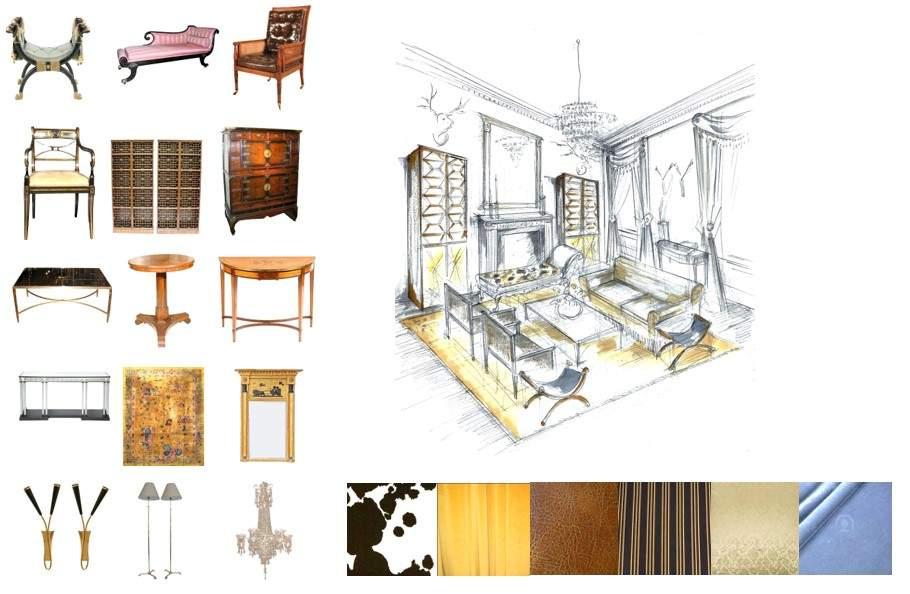 家具,灯具,布料,地毯及手绘三维图例。(图片来源:徐红)