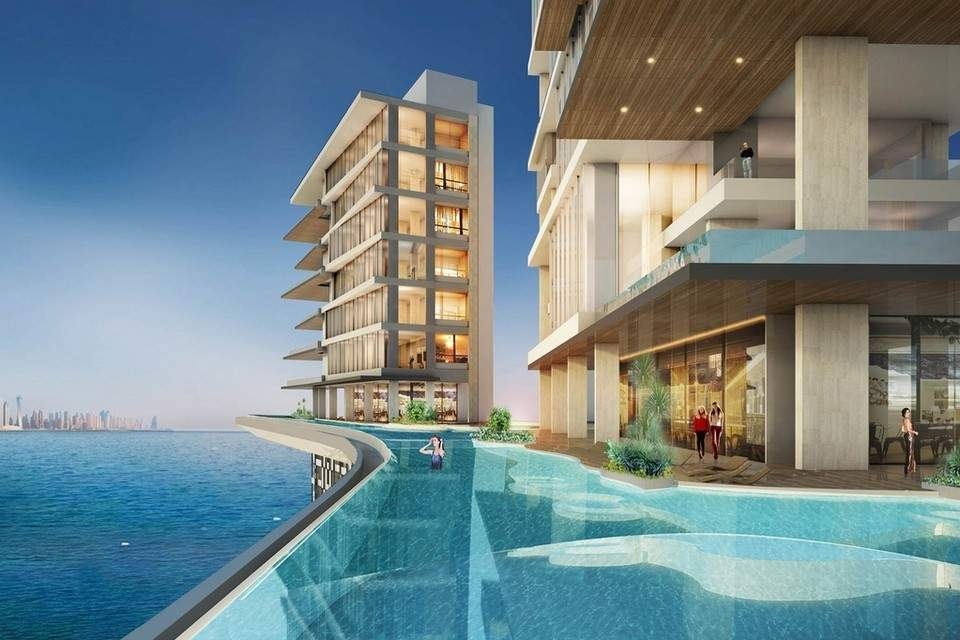 The rooftop infinity sky pool at the Palm 360 on Dubai's Palm Jumeirah; Scheduled for completion in mid-2020
