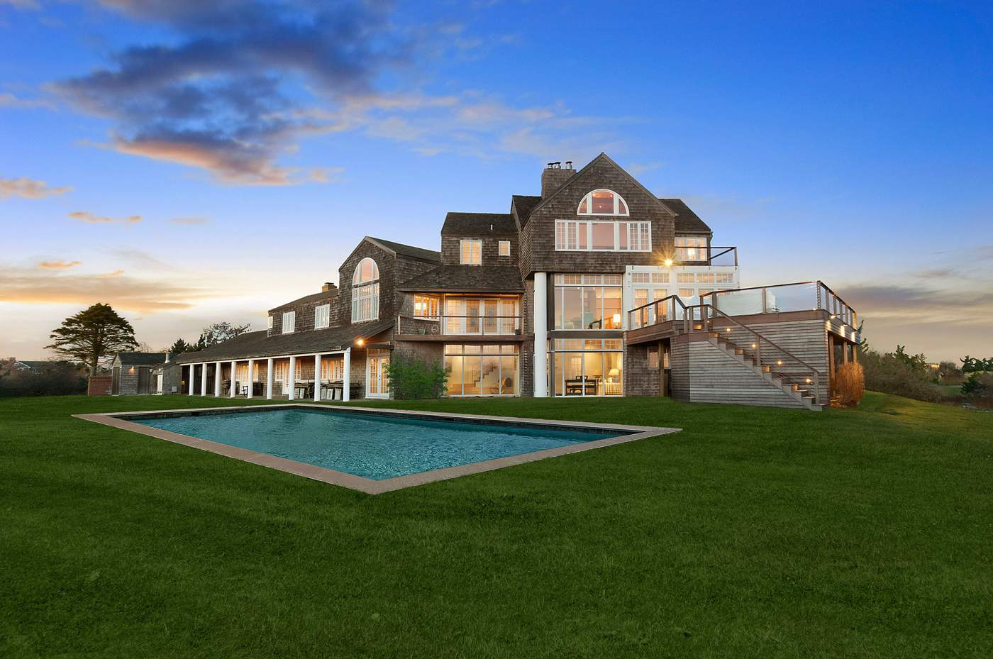 131 Crestview Drive in Sagaponack$34.995 millionIf looking for the ultimate home for entertaining, consider this 9,500 square-foot oceanfront classic in Sagaponack set on 2.6 private acres. There are seven bedrooms, a gorgeous great room, dining room and a state-of-the-art chef's kitchen. Outside there is a heated pool, pool house and plenty of space for a chef's garden, all just steps from the ocean. If you need to pick up some rosé to drink poolside, zip over to nearby Wölffer Estate winery.