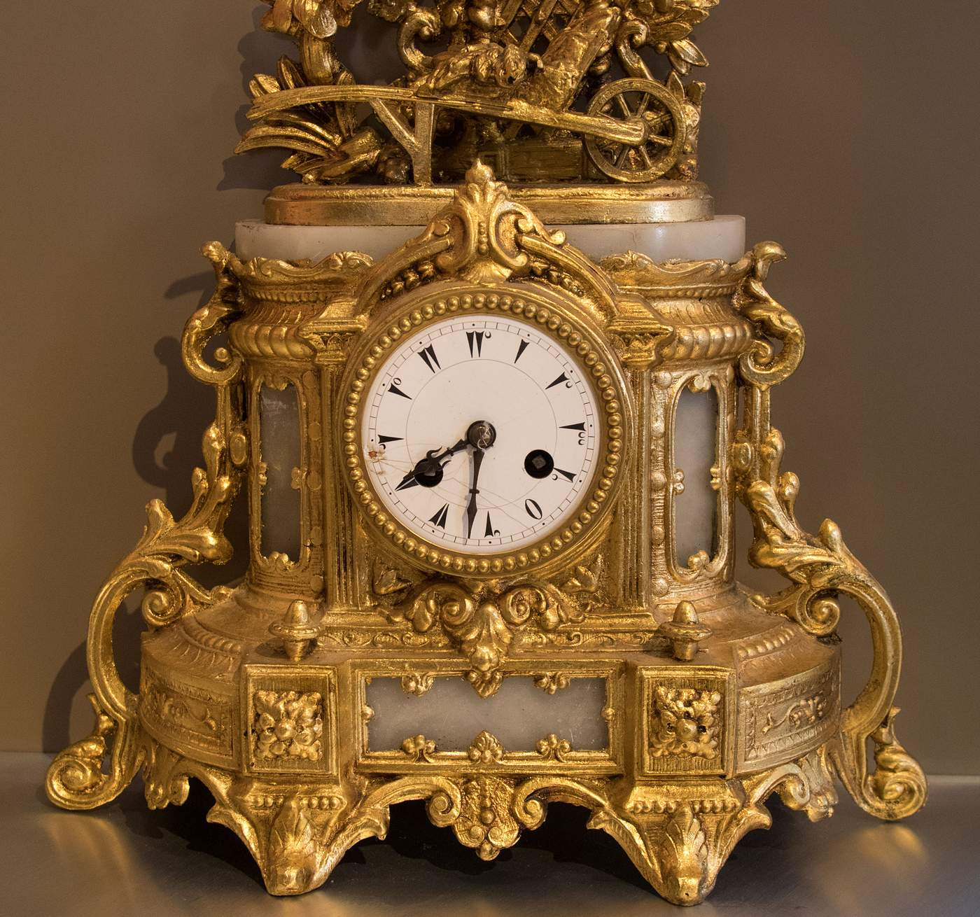 "2.    Antique clock, bronze with gold leaf, estimated 19th century ""Growing up, I loved spending time with my grandpa and grandma, and I always admired this clock in their dining room,"" Mr. Bahadir said. ""My grandma told me one day when I decorate my own place she would give it to me. When I moved to New York she finally gave it to me."""