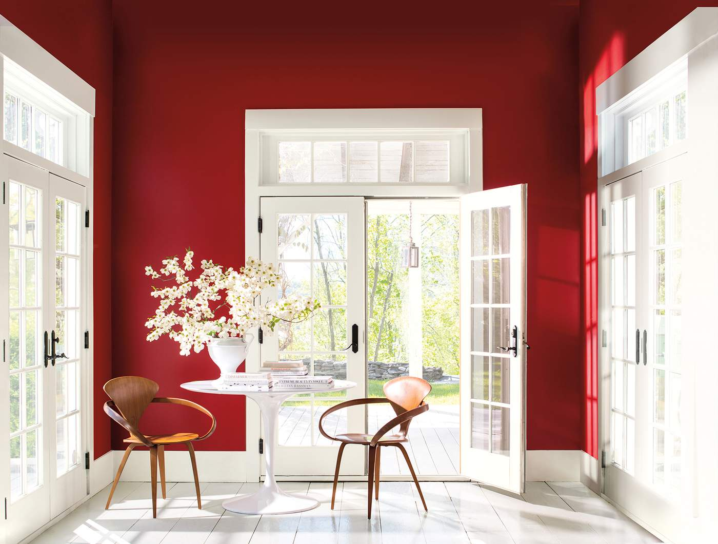 According To Andrea Magno, The Hottest Hue For Homes In 2018 Is A Bold,  Vibrant Red Shown In This Sunroom. Photography Courtesy Of Benjamin Moore